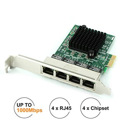 Ubit Network Card,Ethernet Adapter,Ethernet Card, Gigabit Ethernet with Heatsink Technology,PCI Express 4-Port Network Controller Card 1000Mbps RJ45 LAN Adapter Converter for Desktop PC (Best Gigabit Ethernet Card)