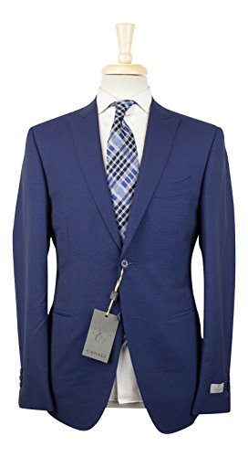 Canali 1934 Blue Wool Peak Lapels 2 Button Suit Size for sale  Delivered anywhere in USA