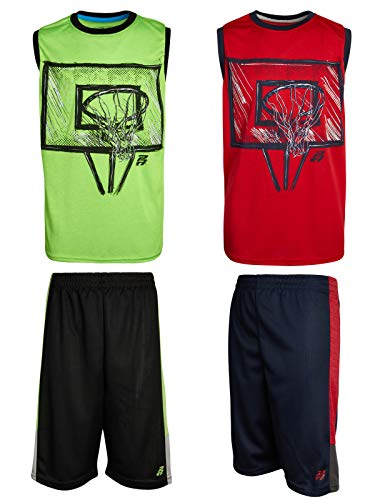 Pro Athlete Boys 4-Piece Performance Sublimation Tank Top and Short Set (Red/Lime, 4)'