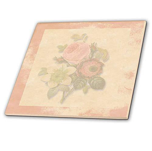 (3dRose Bevs Art and Design Vintage Elements - Soft Pink Victorian Roses, Antique Look Background Pink Frame, Light Pastel - 4 Inch Ceramic Tile (ct_186918_1))