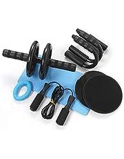 Azeekoom 8-in-1 buikspiertrainer-set, buikroller + anti-slip kniebeschermer + 2 glijschijven + 2 push-steunen + handtrainer + springtouw, voor gewichtsverlies fitness oefening
