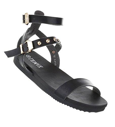 Damen Leder-Optik Sandalen | Komfort Sandalen | bequeme Hausschuhe | Schnallen Plateau Sandalen | Riemchen Pantoffeln | Schuhcity24 Schwarz