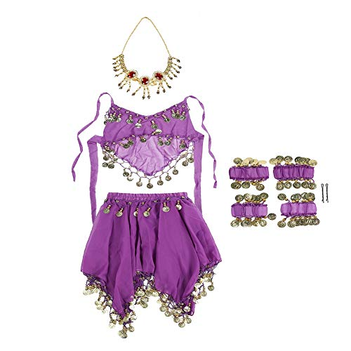 Vbestlife. Kids Girls Belly Dance Top Skirt Set Halloween Costume Set Dress Outfit Indian Dance Performance Clothing Carnival Party Dance Clothes Suit Set with Head Veil Bracelets Anklets(Purple)