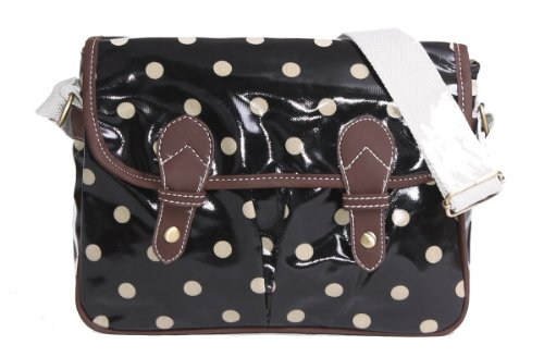 Nuevo estilo lunares mantel de hule Mini Satchel Crossbody Bolsas negro