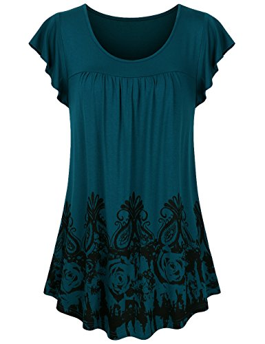 Sunerlory Short Sleeve Tunic, Womens Printed Floral Top Scoop Neck Comfy Casual Pleated Tunic Blouses Deep Cyan XL by Sunerlory