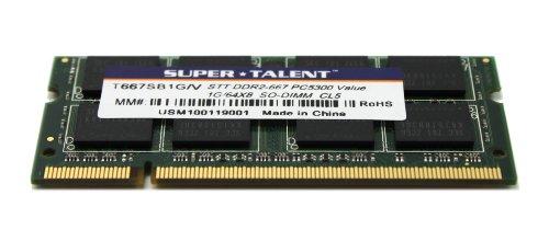 Super Talent DDR2-667 SODIMM 1GB/64x8 Value Notebook Memory T667SB1G/V by Super Talent (Image #5)