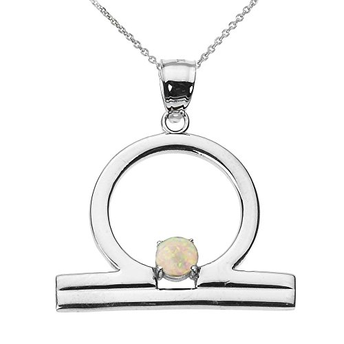"Personalized 10k White Gold Genuine Opal October Birthstone Libra Zodiac Pendant Necklace, 18"""