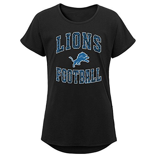 Outerstuff NFL NFL Detroit Lions Youth Girls Team Lace Short Sleeve Dolman Tee Black, Youth Medium(10-12) ()
