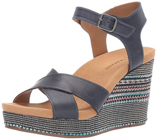 Lucky Brand Women's YAROSAN Wedge Sandal, Indigo, 7.5 M US