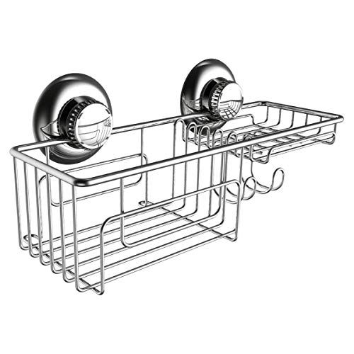 Gecko-Loc Shower Combo Caddy w Suction Cups Stainless Steel Shampoo Conditioner Holder Deep Storage Basket and Shelf - Chrome - Adhesive DISKS Now Include
