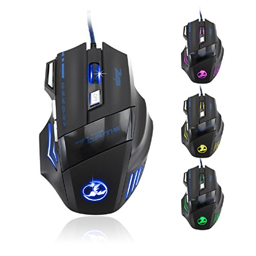 Amazon.com: Zelotes 5500 DPI 7 Button LED Optical USB Wired Gaming Mouse Mice for Pro Gamer: Computers & Accessories
