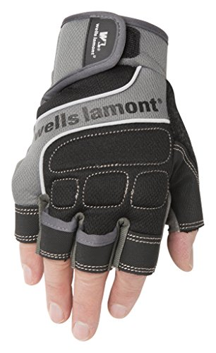 Wells Lamont Men's Fingerless Synthetic Leather Work Gloves, Grey, Extra Large (841GXL) ()
