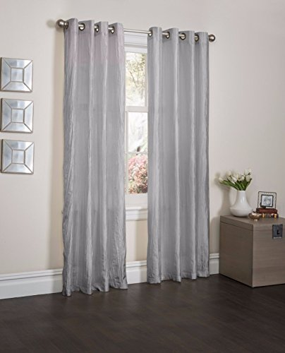 Silver Orange Crushed Satin Window Curtain Panel With 8 Grommets, Curtains - 52''X84'' by Window Treatment