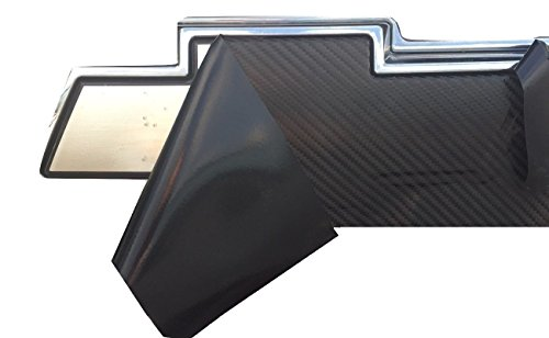 "Qbc Craft Chevy Bowtie Emblem Overlay (3 Pack) Black 3M Carbon Fiber Cut-Your-Own Car Wrap Kit DIY GM Logo Easy to Install Air Release Film 12"" x 4"" Sheets (x3)"