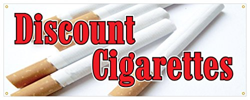 Discount Cigarettes Banner Smoking Tobacco Cigars Smoke Brand Store ()