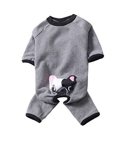 BBEART Dog Pajamas,Warm Winter Fleece Dog Pug Clothes Pet Winter Clothes Jumpsuit Bulldo French Bulldog Costume Apparel for Small Dogs Medium Large Dogs (Large, Gray)