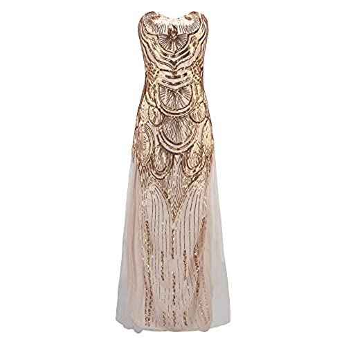 Litluxe Womens 1920s Gatsby V-Neck Sequin Strapless Lace up Banquet Prom Dress (M)