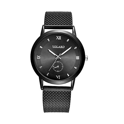 (Unisex Watches, Fashionable High Hardness Glass Mirror Men and Women General Mesh Belt Watch Luxury Stainless Steel Round Wristwatch Gift (A))