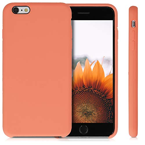 kwmobile TPU Silicone Case Compatible with Apple iPhone 6 Plus / 6S Plus - Soft Flexible Rubber Protective Cover - Papaya