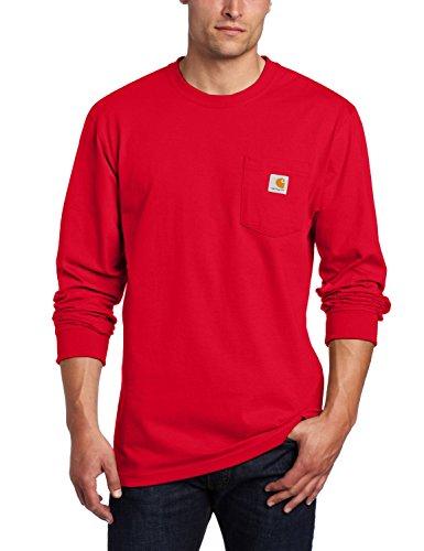 Carhartt Men's Workwear Jersey Pocket Long-Sleeve Shirt K126 (Regular and Big & Tall Sizes), Red, 2X-Large