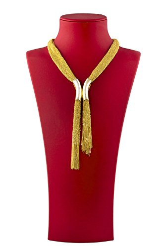 Mesh Jewel Woven 24k Gold Plated Sterling Silver Tie Statement Necklace ()