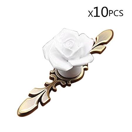 IdealDecor 10PCS Lovely Rose Flower Ceramic Door Knob Antique Brass Handle Pulls for Children's Kid's room Drawer,Cabinet,Chest, Bin, Dresser, Cupboard, Etc with Screws