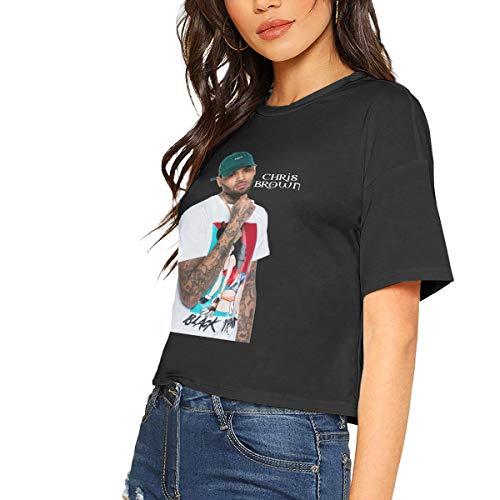 (Chris Brown Crop Top Womens Short Sleeve Blouse Dew Navel Tshirt Slub Cotton)