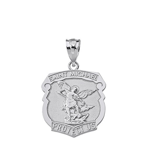 925 Sterling Silver Saint Michael Protect Us Shield Shaped Medal Pendant