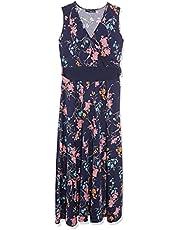 فستان ماكسي فسكوز برقبة شكل V مكشكشة وطبعة ورود للنساء من انديامو، M