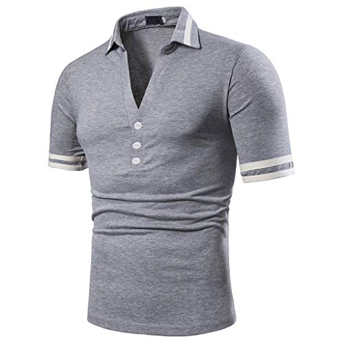 - Fashion Men's Business Golf Polo Shirt,MmNote Men's V-Neck Active Performance Sports Button Athletic Short Sleeve Gray