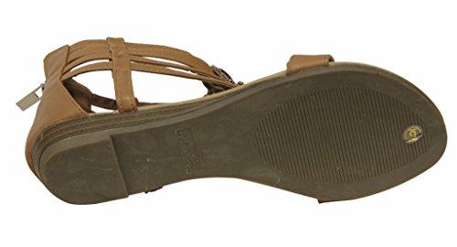 Anna Lion-16 Womens thong toe rhinestone decor zip closure wedge sandals Tan 25jjz