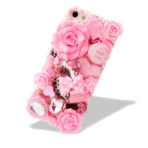 NOVA CASE® Glamour Series 3D Bling Crystal iPhone Case for iPhone 5 - Pink Fairy Tale (Package includes: soft pouch, screen protector, extra crystals) (Iphone 5 Crystal Bling Case compare prices)