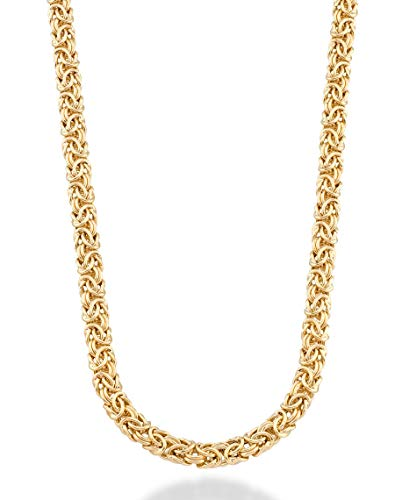 MiaBella 18K Gold Over Sterling Silver Italian Byzantine Link Chain Necklace for Women, 16
