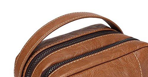 Retro Bolsas Pecho Diagonales De Múltiples Funciones De Los Hombres Casuales Brown