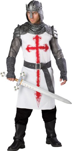 InCharacter Costumes, LLC Men's Crusader Costume, White/Gray, Large (Mens Crusader Knight Costume)