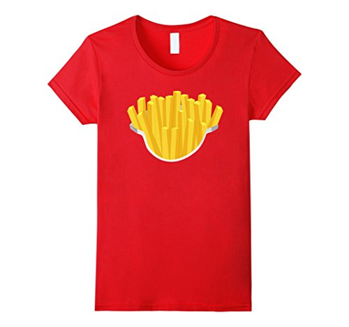 French Fry Halloween Costumes (Womens French Fries Costume Shirt Salty Crispy Fry Fast Foodie Large Red)