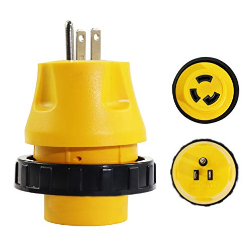 (iztor RV Electrical Locking Adapter 15A Male to 30A Female Locking Plug Connector)