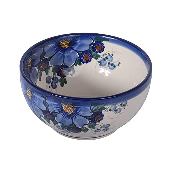 Traditional Polish Pottery, Handcrafted Ceramic Salad Bowl (1500ml), d.19cm, Boleslawiec Style Pattern, M.704.Passion