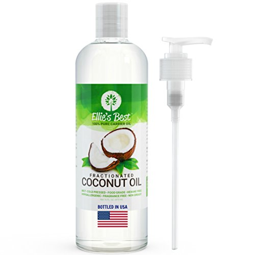 Oil Base Coconut (Fractionated Coconut Oil - Pure USA Expeller Cold Pressed & Hexane Free - Best Therapeutic Grade Carrier Oil for Essential Oils Aromatherapy & Massage - Food Grade MCT - 12 Ellie's Recipes (16 oz))