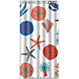 "Top cool Stylish Starfish Conch Shell 36""(Width) x 72""(Height) Starfish Conch Shell 100% Polyester Bathroom Shower"