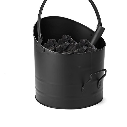 Mind Reader ASHBUCK-BLK Large Fire Place Ash Bucket, Pellet Bucket, Black