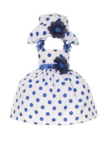 Cinderella Couture Baby Girls Polka Dotted Rockabilly Dress Hat Navy 12M M 1002
