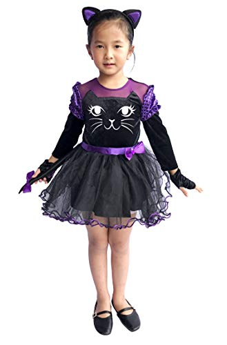 So Sydney Deluxe Girls Black Cat Costume & Accessories, Kid Toddler Purple Cat Tutu Dress Halloween Dress-Up (L (7/8), Purple Cat) -