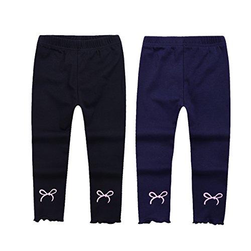 Girls Leggings Toddler Little Kids Footless Tights Fall Slim Pants 2 Pair Pack