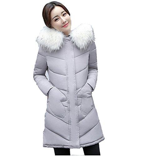 Chiguo Mujer Largas Chaqueta Abrigo con Capucha Artificiales Pelaje Collar Invierno Cálido Chaquetas para Mujer S-XXL Gris