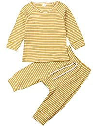 Newborn Unisex Baby Clothes Outfits Long Sleeve Ribbed Sleepwear 2PCS Pajamas Set