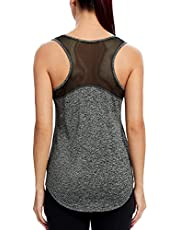 Quccefods Womens Workout Tank Tops Yoga Shirts Mesh Racerback Athletic Running Tank Tops Gym Workout Clothes