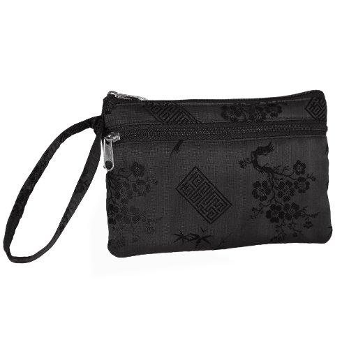 Essentials Wristlet – Silk Jacquard (Black), Bags Central