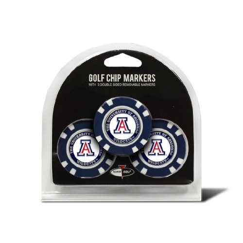 Team Golf NCAA Arizona Wildcats Golf Chip Ball Markers (3 Count), Poker Chip Size with Pop Out Smaller Double-Sided Enamel Markers