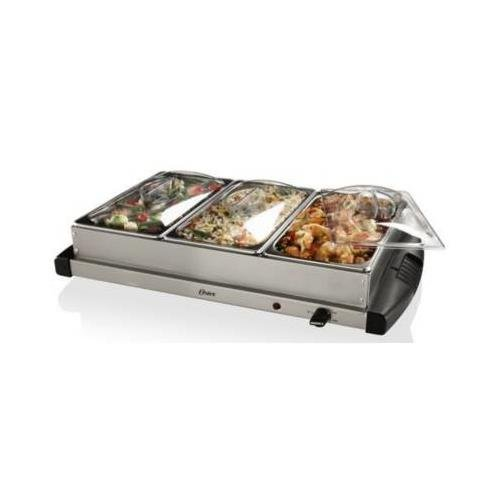 Oster Inspire CKSTBSTW00 Warming Tray with Triple Buffet Server - Stainless Steel Jarden